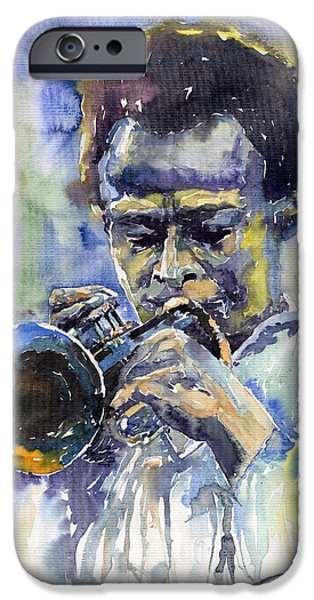 Trumpet iPhone Cases - Jazz Miles Davis 12 iPhone Case by Yuriy  Shevchuk