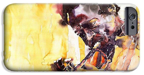 Miles-davis iPhone Cases - Jazz Miles Davis 6 iPhone Case by Yuriy  Shevchuk