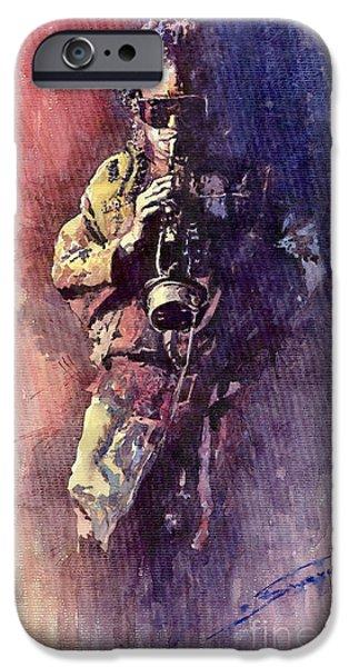 Miles-davis iPhone Cases - Jazz Miles Davis Maditation iPhone Case by Yuriy  Shevchuk