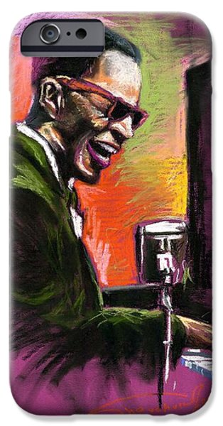 Piano Drawings iPhone Cases - Jazz. Ray Charles.2. iPhone Case by Yuriy  Shevchuk