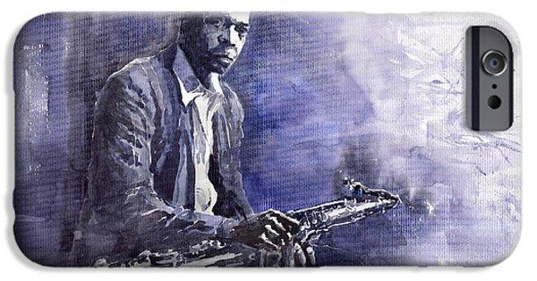Figurative iPhone Cases - Jazz Saxophonist John Coltrane 03 iPhone Case by Yuriy  Shevchuk