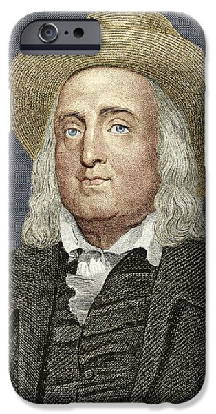 Jeremy iPhone Cases - Jeremy Bentham, British Philosopher iPhone Case by Sheila Terry