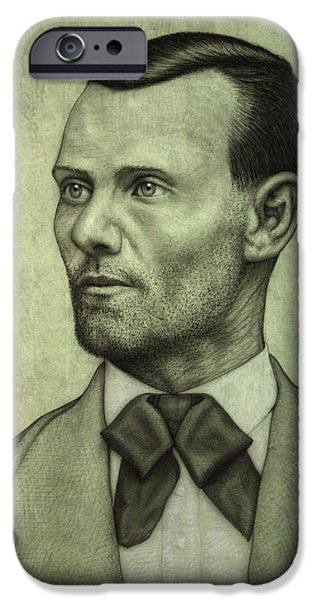 Old Drawings iPhone Cases - Jesse James iPhone Case by James W Johnson