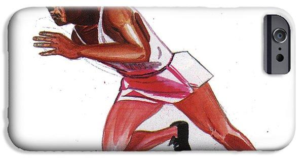 Berlin Drawings iPhone Cases - Jesse Owens iPhone Case by Emmanuel Baliyanga