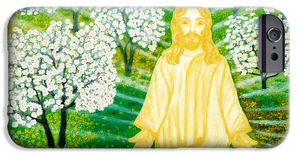 Sun Rays Paintings iPhone Cases - Jesus on Mount Thabor iPhone Case by Augusta Stylianou
