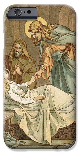 Miracle iPhone Cases - Jesus Raising Jairuss Daughter iPhone Case by John Lawson