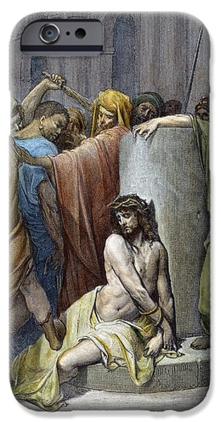 Pilate iPhone Cases - Jesus: Scourging iPhone Case by Granger