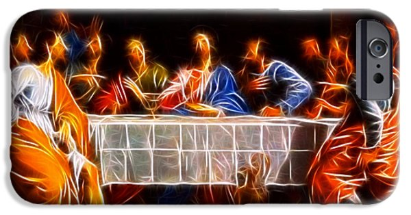 The Church Mixed Media iPhone Cases - Jesus The Last Supper iPhone Case by Pamela Johnson