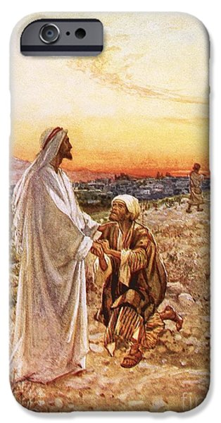 Miracle iPhone Cases - Jesus withe the one leper Who Returned to Give Thanks iPhone Case by William Brassey Hole