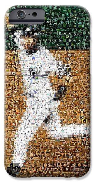 Jeter Walk-Off Mosaic iPhone Case by Paul Van Scott