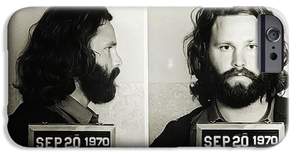 Bill Cannon iPhone Cases - Jim Morrison Mugshot iPhone Case by Bill Cannon