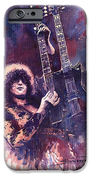 Musicians Paintings iPhone Cases - Jimmy Page  iPhone Case by Yuriy  Shevchuk