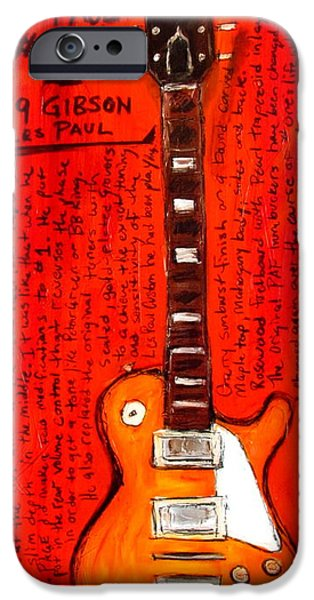 Led Zeppelin Paintings iPhone Cases - Jimmy Pages Les Paul Number1 iPhone Case by Karl Haglund