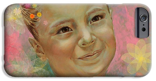 Innocence iPhone Cases - Joanas portrait iPhone Case by Karina Llergo Salto