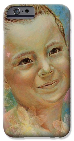Joana's portrait iPhone Case by Karina Llergo Salto
