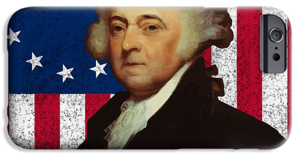 July 4th Digital Art iPhone Cases - John Adams and The American Flag iPhone Case by War Is Hell Store