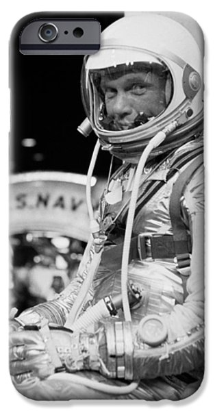 Politician Photographs iPhone Cases - John Glenn Wearing A Space Suit iPhone Case by War Is Hell Store