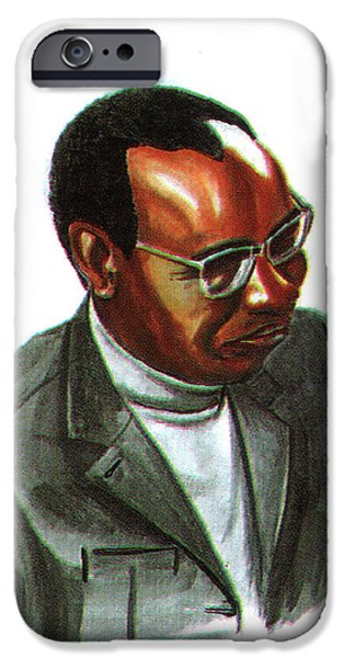 Religious Drawings iPhone Cases - John Mbiti iPhone Case by Emmanuel Baliyanga