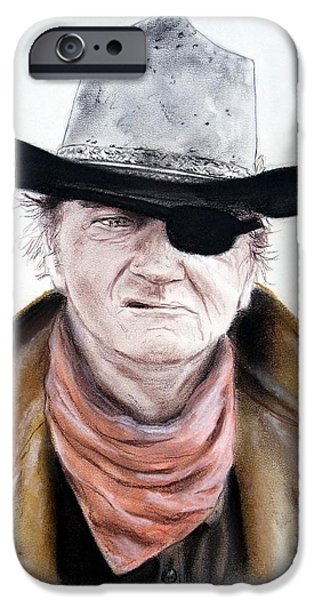 The Horse Pastels iPhone Cases - John Wayne  iPhone Case by Jim Fitzpatrick
