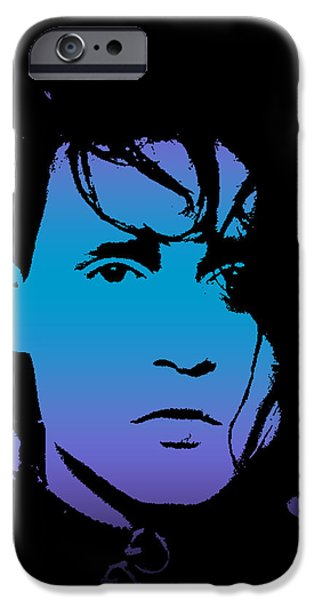 Character Portraits Digital Art iPhone Cases - Johnny as Edward iPhone Case by Jera Sky