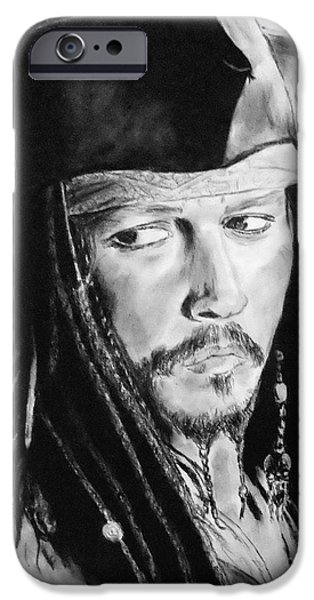 Alice In Wonderland iPhone Cases - Johnny Depp as Captain Jack Sparrow in Pirates of the Caribbean II iPhone Case by Jim Fitzpatrick