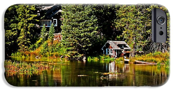 River Flooding iPhone Cases - Johnny Sack Cabin II iPhone Case by Robert Bales