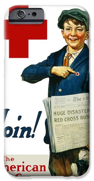 Political Mixed Media iPhone Cases - Join The American Red Cross iPhone Case by War Is Hell Store
