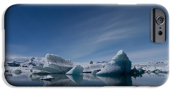 Atlantic iPhone Cases - Jokulsarlon at Night iPhone Case by Andres Leon