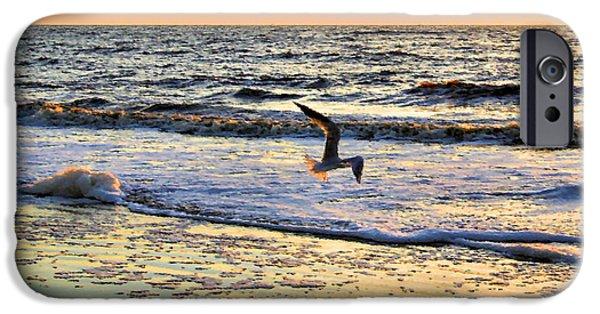 Flying Seagull Digital Art iPhone Cases - Jonathan Livingston Seagull iPhone Case by Kristin Elmquist