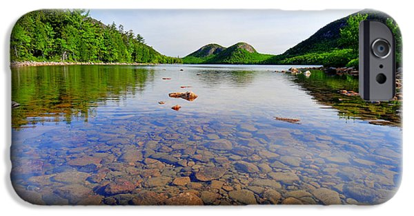 Nature Scene Photographs iPhone Cases - Jordan Pond and The Bubbles iPhone Case by Thomas Schoeller