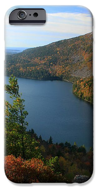 Jordan Pond in Autumn from North Bubble Acadia National Park iPhone Case by John Burk