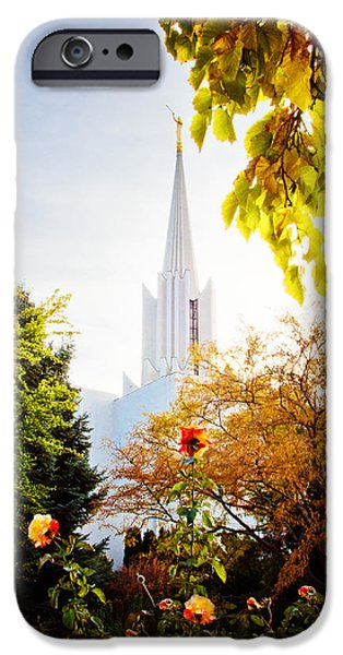 Jordan River Temple Rose iPhone Case by La Rae  Roberts