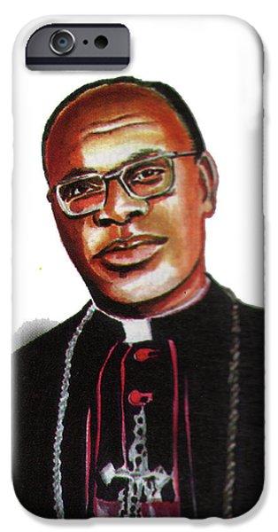 Religious Drawings iPhone Cases - Joseph Malula iPhone Case by Emmanuel Baliyanga