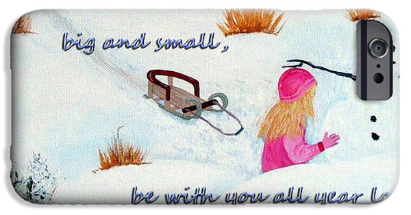 Snow Scene Mixed Media iPhone Cases - Joys of Christmas iPhone Case by Barbara Griffin