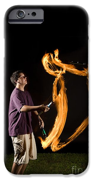 Juggling Photographs iPhone Cases - Juggling Fire iPhone Case by Ted Kinsman