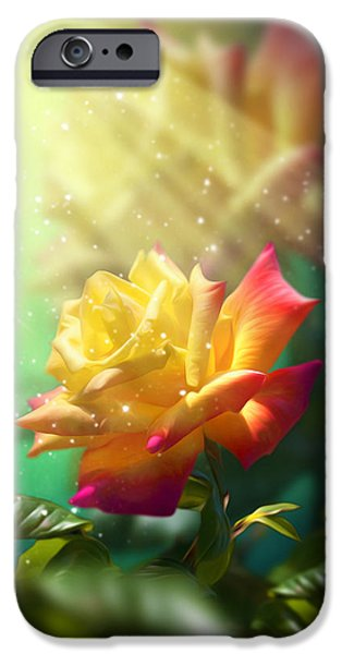 Close Up Mixed Media iPhone Cases - Juicy Rose iPhone Case by Svetlana Sewell