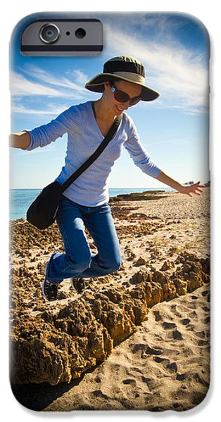 Beach Photographs iPhone Cases - Jumping for Joy iPhone Case by Andres Leon