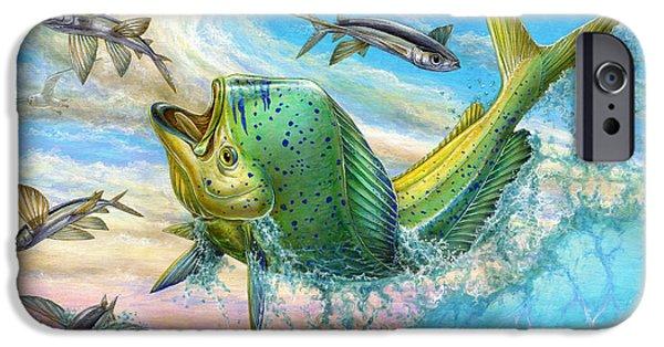 Marine iPhone Cases - Jumping Mahi Mahi And Flyingfish iPhone Case by Terry Fox