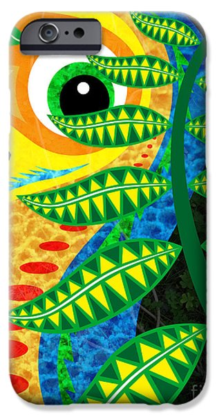 Cartoon Birds iPhone Cases - Jungle Bird iPhone Case by Robert Ball
