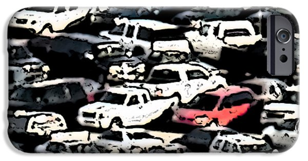 Junk Yard iPhone Cases - Junk Yard Cars iPhone Case by Patrick M Lynch