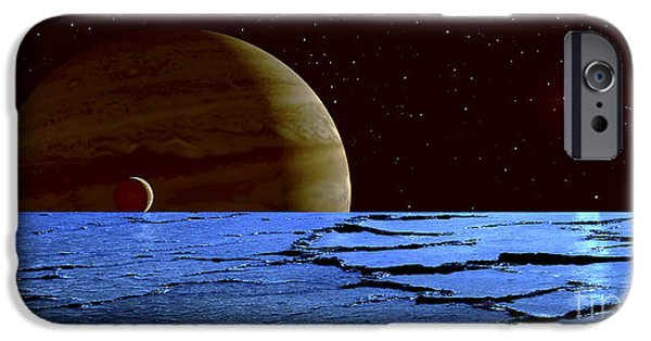 Concept Art iPhone Cases - Jupiter And Its Moon Lo As Seen iPhone Case by Frank Hettick