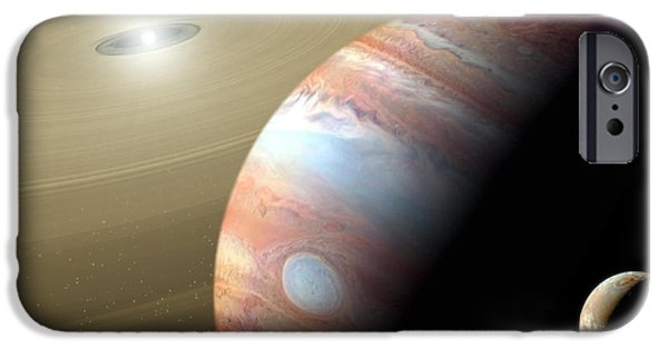 Animation iPhone Cases - Jupiter and Moon iPhone Case by Mike Agliolo and Photo Researchers