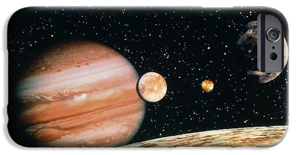 Galilean Moon iPhone Cases - Jupiter And The Galilean Moons Seen From Callisto iPhone Case by