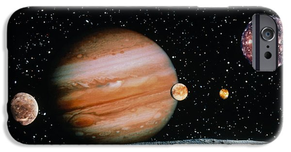 Galilean Moon iPhone Cases - Jupiter And The Galilean Moons Seen From Leda iPhone Case by