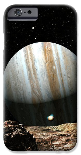 Planets Paintings iPhone Cases - Jupiter Seen From Europa iPhone Case by Don Dixon