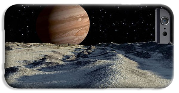 Concept Digital iPhone Cases - Jupiters Large Moon, Europa, Is Covered iPhone Case by Ron Miller