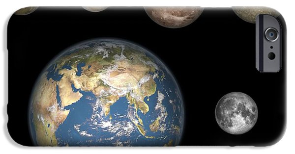 Cut-outs iPhone Cases - Jupiters Moons And The Earth, Artwork iPhone Case by Walter Myers