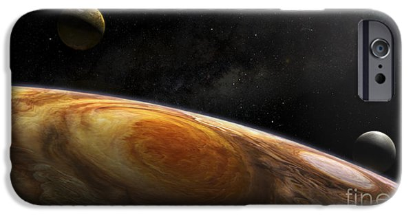 Galilean Moon iPhone Cases - Jupiters Moons Io And Europa Hover iPhone Case by Steven Hobbs