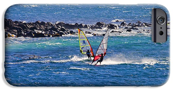 Windsurfer iPhone Cases - Just Passing By iPhone Case by Mike  Dawson