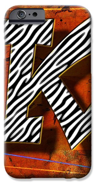 Abstract Digital Pyrography iPhone Cases - K iPhone Case by Mauro Celotti